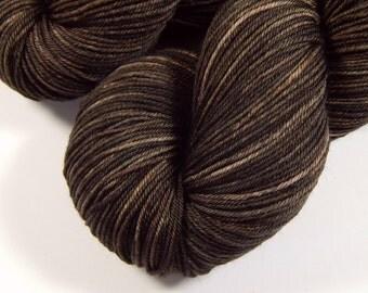 Hand Dyed Yarn - Sock Weight 4 Ply Superwash Merino Wool Yarn - Bark Tonal - Sock Yarn, Knitting Yarn, Fingering Yarn, Brown Semi Solid