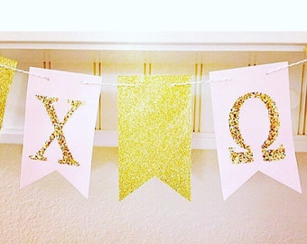 Sorority Banners, Big Little Sorority Sister, Greek Letter Banners, Glitter Sorority Name, Pennant Sorority Banner,