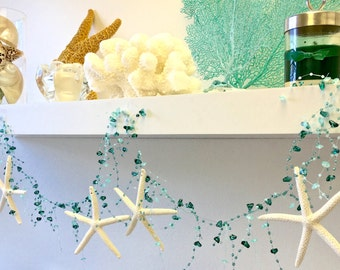 Beach Decor Natural Starfish Garland - Choose Aqua, White/Ivory or Turquoise Beads - Star fish Garland Beach Wedding Decor