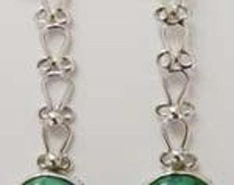 Emerald Green Cut Glass Stone Earrings (E9)