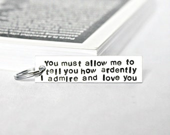 Couples keychain, personalized , pride and prejudice, husband, valentines day, hand stamped, mens, womens, darcy, jane austen, adrently love