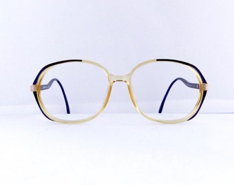Christian Dior Eyeglasses Frames Women's 1980's Translucent Yellow with Black & Gold Frames Model #2482 Germany #M306