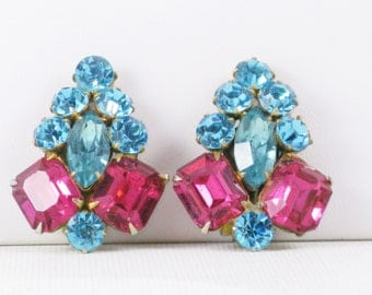 Vintage Pink and Blue Rhinestone Clip Earrings (E-2-4)