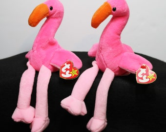 1995 Ty Beanie Babies - Pinkie the Flamingo - PVC - Tag Errors