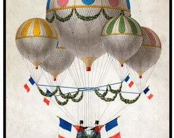 antique french illustration colorful hot air balloons digital illustration