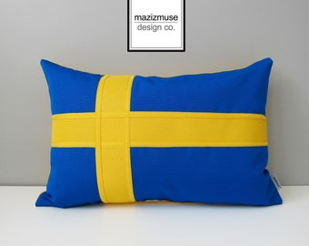 Swedish Flag Pillow Cover, Sweden Flag, Decorative Throw Pillow Cover, Blue Yellow Gold, Svensk, Sunbrella Cushion Cover, Mazizmuse