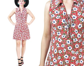 90s Daisy Floral Dress Grunge Lace Up Dress Summer Skater Dress Floral Print Day Dress Red Floral Dress Sleeveless Collared Dress (XS/S)
