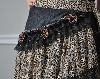 WRAP SKIRT, Leopard/Black Lace Leopard Roses Wrap Skirt, Mini Skirt, Belt, Barocco, Steampunk, Bohemian, Gypsy, Belly Dance, Costume Party