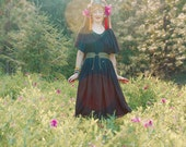 FREE SIZE... Boho Black Cotton Maxidress... Goth Goddess... Witchy Woman Wear
