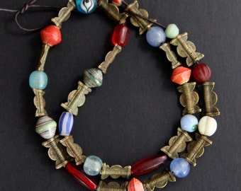 Mini African Trade Bead Necklace Cute Little Glass, Paper, and Cast Brass Trade Beads Colorful Vintage Ethnic and Tribal Jewelry