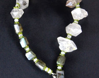 Huge Double Terminated Crystal Quartz Necklace Rustic Tibetan Diamond Shaped Crystals with Labradorite and Peridot Gemstone Jewelry