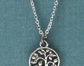 Tree of Life Silver Charm Pendant Necklace Circle of Life Family Tree Wedding Birthday Anniversary Gift Christmas Stocking Stuffer SALE