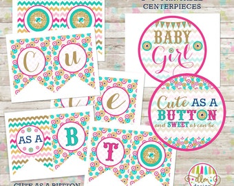 Printable Party Package, Cute As A Button, Pink Gold Teal Baby Shower, Baby Shower Printables, Party Decor, DIY, Advice Card, Thank You Card