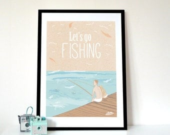 Graphic Print, Let's Go Fishing, Typography Poster Art Print