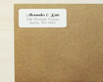 Simple Return Address Labels - Design #06, Wedding Return Address Labels, Brown Kraft Address Labels, Calligraphy Return Address Label