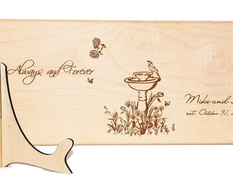 Personalized cutting board with stand and tag, Bird kitchen decor, Custom Wedding Gift, 5th Anniversary, English Garden, Bridal shower gift