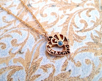 Vintage I Am A Child Of God Pendant Heart Shaped Necklace Gold With Blue Stone