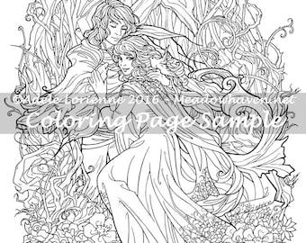 "Art of Meadowhaven Fantasy Coloring Page Download: ""Love Birds"""