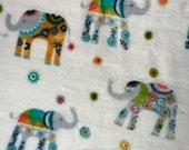 ELEPHANT PARADE Plush Baby Blanket Stretch Swaddle Fuzzy Nuetral Boy Girl Newborn Comfort Wrap Super Soft Cuddle Boho Animal Print Swaddling