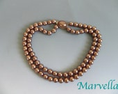 Vintage 1950s Marvella Cocoa Pearl Bead Necklace - 50s Lush Brown Pearl double strand Necklace Signed