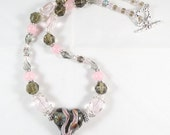 Gray and Pink Necklace with Heart Focal