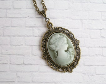 Victorian Cameo Necklace Vintage Style Filigree Pendant Cottage Chic Jewelry