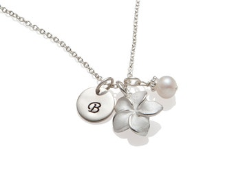 Personalized Flower Girl Necklace Dainty Flower Girl Gift Jewelry Initial Monogram Sterling Silver