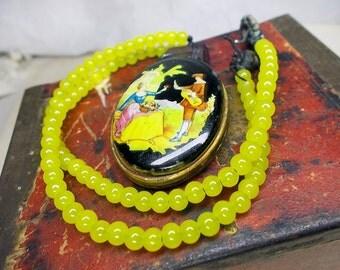 Beaded Necklace -- Rustic Assemblage Necklace - Vintage Locket, Purple Quartz Point - Bright Lemonade Yellow Beads - Colorful Necklace