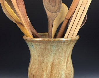 Utensil Jar, Large Spoon Jar, Utensil Crock, Kitchen Spoon Holder, Handmade Pottery Spoon Jar - In Stock and Ready to Ship