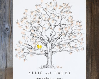 Fingerprint Tree Wedding Guest Book Alternative, Original Hand-drawn Medium Twisted Oak Design (ink pads sold separately)