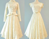 RESERVED Vintage 1950s Wedding Dress..ROSE GRESTENFIELD Tea Length Ivory Jacquard Wedding Suit City Hall Wedding