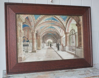 Luscious Antique N Barducci Lithograph In The Cloister Italian Renaissance Art