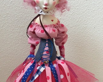 OOAK Art Doll, decoratieve doll, clay doll, unique, collector, Bjd, blythe, clown, pierrot