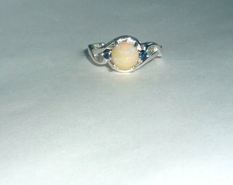 1.02ct Ethiopian Opal And Blue Sapphire Ring Sterling Silver .925