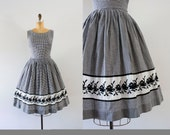 1960s Country Stroll gingham floral dress / 60s black & white