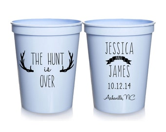 Personalized The Hunt Is Over Wedding Cups, Southern Wedding Favors, Shower Favors, Wedding Party Cups, 16 oz. Stadium Cups
