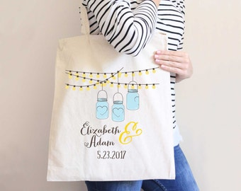 Wedding Bags, Personalized Bulk Favor Bags Wedding Favors Welcome Bags Wedding Guests Bridal Party Tote Bride Gift (Item - DTP300)