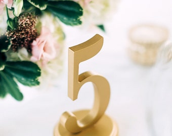 Gold Wedding Table Numbers for Gold Wedding Table Decor, Vintage Style Wedding Table Number Wooden Custom Table Number Signs (Item - NUM125)