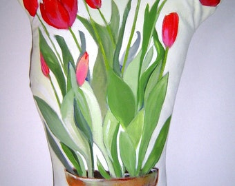 """Potted Red Tulips 17"""" Tall Pillow Hand Painted Free Standing Spring Tulips Charming Cottage Garden Home Decor"""