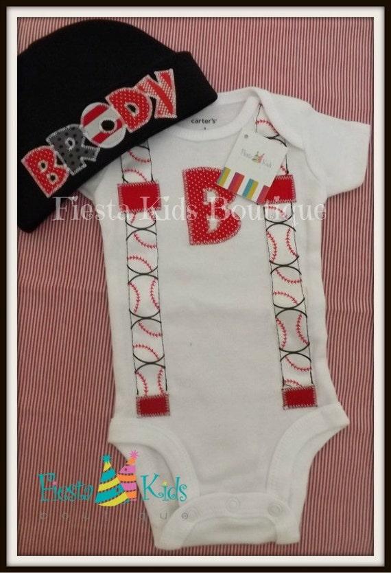 Newborn boy coming home outfit baseball theme custom baby
