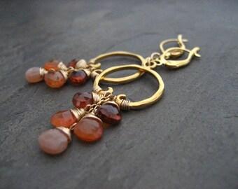 Carnelian earrings, ombre dangle, spessartine dangle, peach moonstone drop, cascading earrings, rusty orange, beaded hoops, briolettes