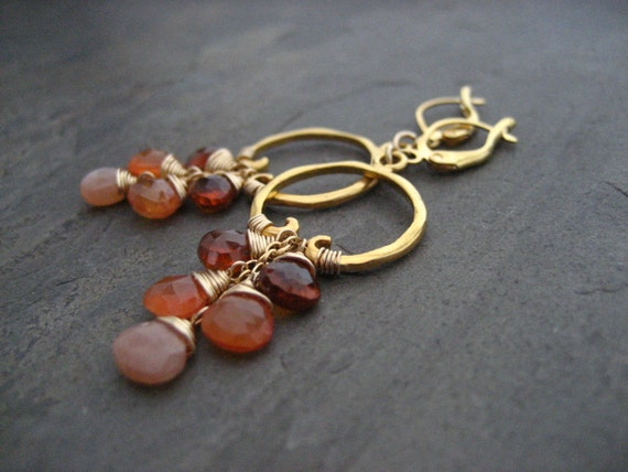 Carnelian earrings, ombre dangle, spessartine dangle, peach moonstone drop, cascading earrings, rusty orange, beaded hoops, briolettes