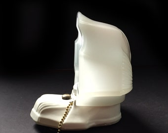 Art Deco Porcelain Wall Sconce with Opal Milk Glass Shade and Pull Chain