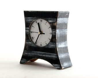 Desk Clock, Wood Clock, Table clock, White Stripes, Black clock, Black & red, Mantel clock, Rustic Mantle decor, Mothers day gift