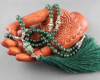 Green Mala Beads, Gemstone Mala, Meditation Beads, Prayer Beads, Tassel Necklace, Tassel Mala, Green Aventurine Mala, Yoga Jewelry, 108 Mala