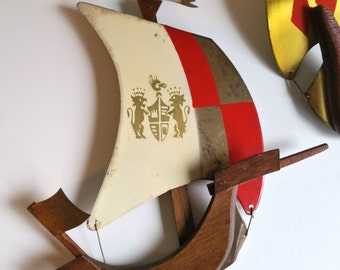 Mid Century Brass and Wood Sailboat Wall Sculpture- Japan