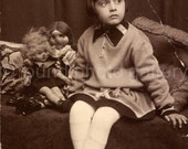 RESERVED FOR EWA Vintage Photo, Little Girl with Vintage Dolls, Found Photo, Black & White Photo, Vernacular Photo,augustine0018
