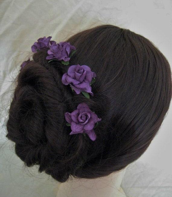 Rose Hairpins x 5. Purple Paper. Bridal, Regency, Victorian