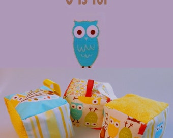Baby Gift Set, Owl, Baby Toys, 3 Rattle Blocks, Handmade Toy, Soft Baby Block, Infant toy, Shower Gift, Baby toy, Infant toy, baby present