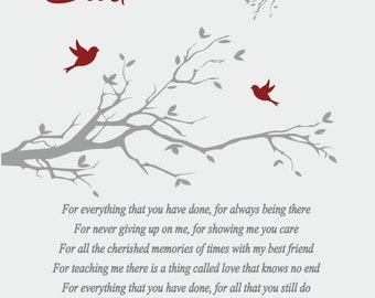 Fathers Day Gift to Dad from Daughter-Fathers Day Gift to Dad from Son-Father's Day Poem-Personalized Print-Choice of Color-Choice of Poem